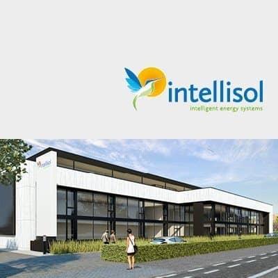 render nieuw gebouw energiecentrum met logo intellisol