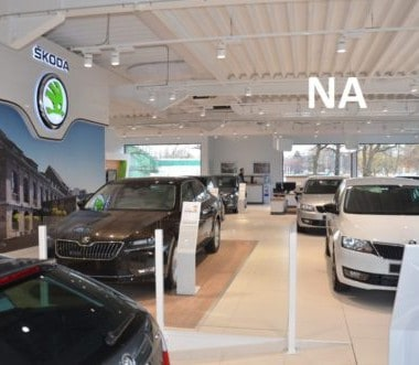 de verlichting bij skoda garage willems in genk na de relighting door intellisol