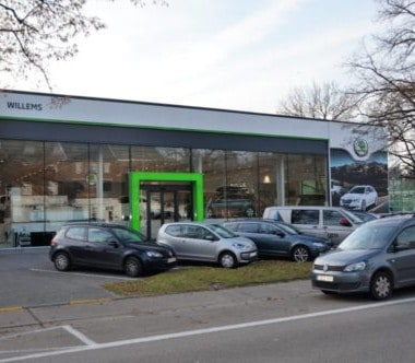 buitenzijde skoda garage willems in genk