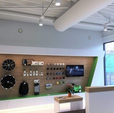 display hoek bij skoda garage willems in genk