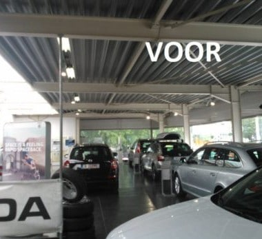 de verlichting bij skoda garage willems in genk voor de relighting door intellisol