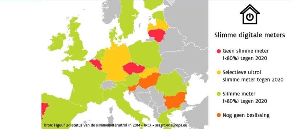 kaart europa met wanneer elk land de digitale meter invoert