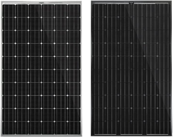 verschil in uitzicht tussen alu black en full black zonnepaneel aleo solar
